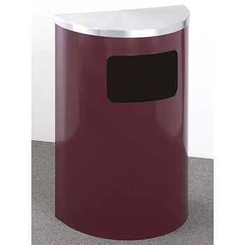 Glaro Profile Half Round Side Opening Trash Can, 1893, finished in a Burgundy body with Satin Aluminum top, Standing
