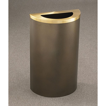 Glaro Profile Half Round Trash Receptacle, 1891, finished in Bronze Vein with a Satin Brass top