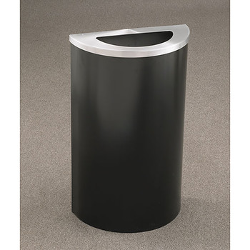 Glaro Profile Half Round Trash Receptacle, 1891, finished in Satin Black with a Satin Aluminum top