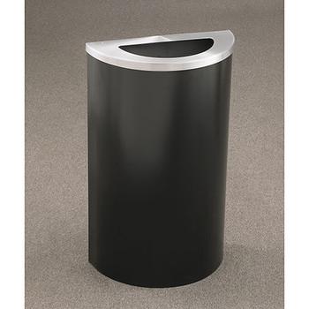 Glaro Profile Half Round Trash Receptacle, 1891, finished in Satin Black with a Satin Aluminum top