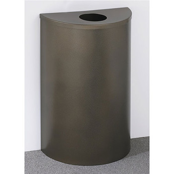 Glaro Profile Half Round Trash Can, 18 x 30 x 9 - 1892 finished in Bronze Vein with a Bronze Vein top, Against a Wall
