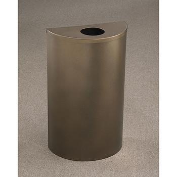 Glaro Profile Half Round Trash Can, 18 x 30 x 9 - 1892 finished in Bronze Vein with a Bronze Vein top, Standing