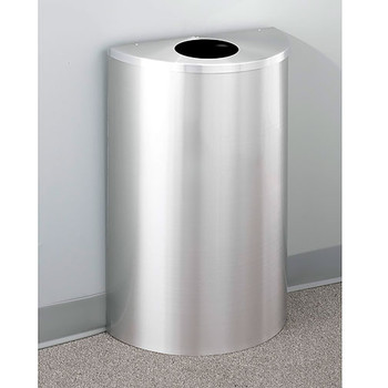 Glaro Profile Half Round Trash Can, 18 x 30 x 9, 14 Gallon, 1892-SA finished in Satin Aluminum, Against a Wall