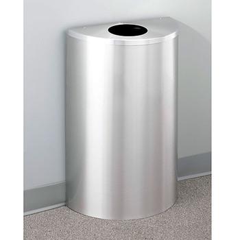 Glaro Profile Half Round Trash Can, 18 x 30 x 9, 14 Gallon, 1892-SA finished in Satin Aluminum, Against a Wall