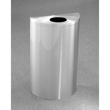 Glaro Profile Half Round Trash Can, 18 x 30 x 9, 14 Gallon, 1892-SA finished in Satin Aluminum, Standing