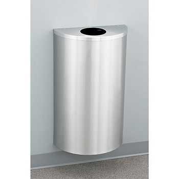 Glaro Profile Half Round Trash Can, 18 x 30 x 9, 14 Gallon, 1892-SA finished in Satin Aluminum, Mounted on Wall Option