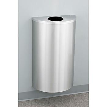 Glaro Profile Half Round Trash Can, 18 x 30 x 9, 14 Gallon, 1892-SA finished in Satin Aluminum, Mounted on Wall Option