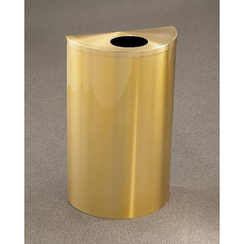 Glaro Profile Half Round Trash Can, 18 x 30 x 9, 14 Gallon, 1892-BE finished in Satin Bronze, Standing