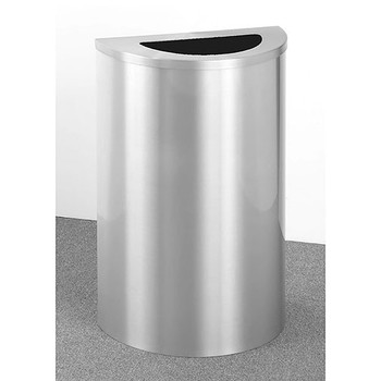 Glaro Profile Half Round Trash Receptacle, 1891, finished in all Satin Aluminum