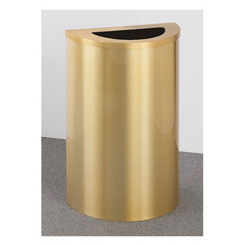 Glaro Profile Half Round Trash Receptacle, 1891, finished in all Satin Brass