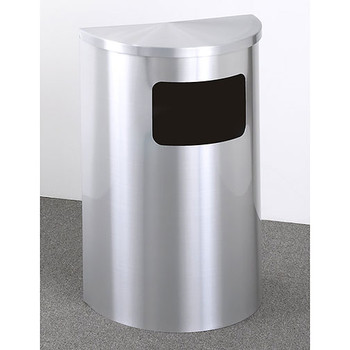 Glaro Profile Half Round Side Opening Trash Can, 1893-SA, finished in all Satin Aluminum
