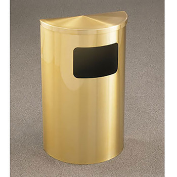 Glaro Profile Half Round Side Opening Trash Can, 1893-BE, finished in all Satin Brass