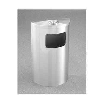 Glaro Profile Half Round Funnel Top Ash and Trash Receptacle - 1894-SA, finished in Satin Aluminum