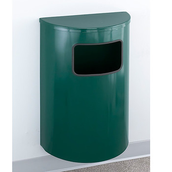 Glaro Profile Half Round Side Opening Trash Can, 1893, finished in a Hunter Green body with Hunter Green top, Mounted on Wall Option