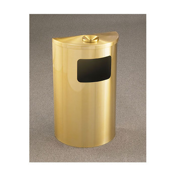 Glaro Profile Half Round Funnel Top Ash and Trash Receptacle - 1894-SA, finished in Satin Brass