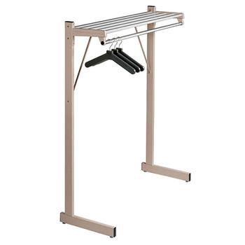 """Magnuson Coat Rack DSF-4HA - 48"""" - Free Standing - Single Side - Hanger Rod - Aluminum Shelf"""