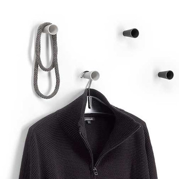 Magnuson BAMBU Small Plastic Hook - 1-3/8 Inch Diameter Clothing NOT included, but are used to show scale. Coat knobs are sold individually.