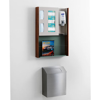 Wall Mounted Peter Pepper IC-TX Steel Trash Can shown with Infection Control Station   Image is for Illustration of Attachment to Wall - Lid on Trash Can and Infection Control Station are Not Included