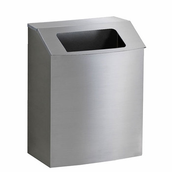 Peter Pepper IC-T-SS Stainless Steel Wall-Mounted Trash Can with Hinged Open Top