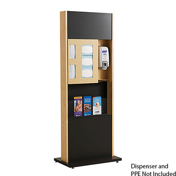 Infection Prevention Station ICF-2M with Magazine Rack by Peter Pepper - Freestanding