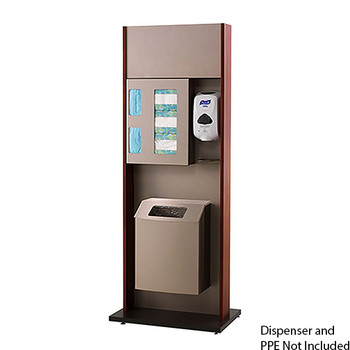 Infection Prevention Station ICF-2T with Trash Can by Peter Pepper - Freestanding