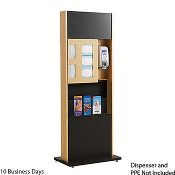 Peter Pepper ICF-2M-QS Sanitation Station - Quick Ship - Freestanding - Magazine Rack  Please note the image shown represents the design of the unit, not the finish.  On the Quick Ship unit, the Front Panels will be Natural Maple, not Black.