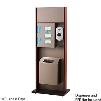Peter Pepper ICF-2T-QS Sanitation Station - Quick Ship - Freestanding - Trash Can  Please note the image shown represents the design of the unit, not the finish.  On the Quick Ship unit, the End Panels and Front Panels will be Natural Maple.