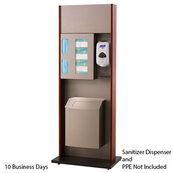 Peter Pepper ICF-2TX-QS Sanitation Station - Quick Ship - Freestanding - Trash Can  Please note the image shown represents the design of the unit, not the finish.  On the Quick Ship unit, the End Panels and Front Panels will be Natural Maple.