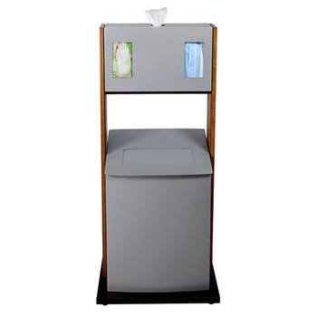 Peter Pepper ICF-4 Freestanding Sanitation Station with Trash Can - Front View
