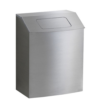 Peter Pepper HealthFIRST Trash Can IC-TX-QS - Quick Ship - Steel - Hinged Top with Lid - Wall Mounted