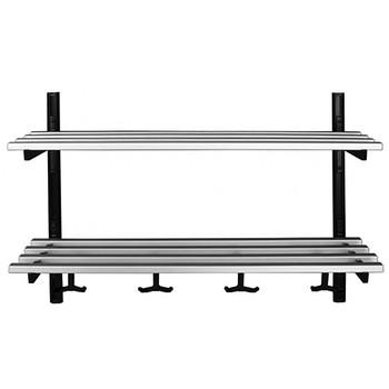 Camden-Boone  Unlimited Aluminum Wall Mount Coat Hook Rack with Double Shelf - 106 Series