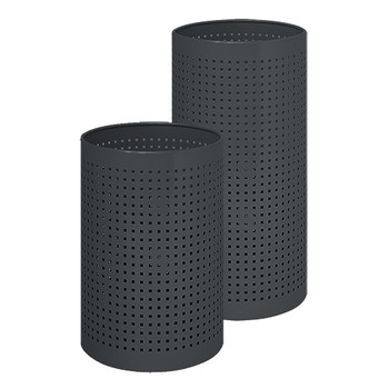 Peter Pepper Wastebaskets 222 and 224 in Black Finish. Smaller 222 on Left and Larger 224 on Right.