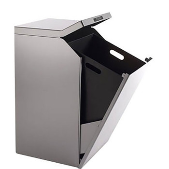Peter Pepper TIMO Square Trash and Recycling Receptacle - Open for Liner Access