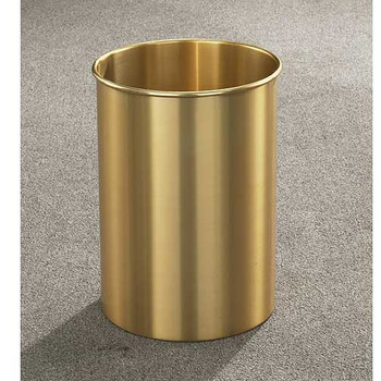 Glaro Atlantis Wastebasket, 10 x 15, 5 Gallon - 66BE - finished in Satin Brass