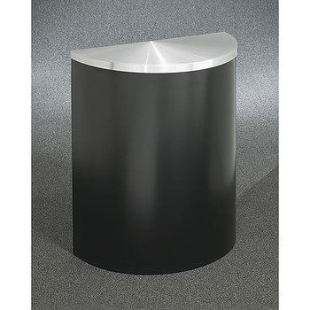 Glaro Profile Half Round Covered Receptacle, 2495, finished in Satin Black with a Satin Aluminum top