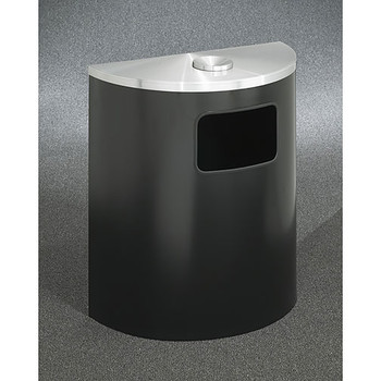 Glaro Profile Half Round Funnel Top Ash and Trash Receptacle, 2494, finished in Satin Black with a Satin Aluminum top