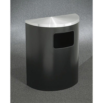 Glaro Profile Half Round Side Opening Trash Can, 2493, finished in Satin Black with a Satin Aluminum top