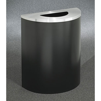 Glaro Profile Half Round Trash Receptacle, 2491, finished inSatin Black with a Satin Aluminum top