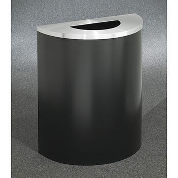 Glaro Profile Half Round Trash Receptacle, 2491, finished inSatin Black with a Satin Aluminum top