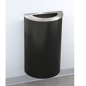 Glaro Profile Half Round Trash Receptacle, 1891, finished in Satin Black with a Satin Aluminum top, Mounted on Wall Option