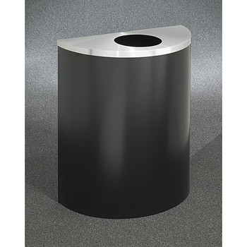 Glaro Profile Half Round Trash Can, 2492, finished in Satin Black with a Satin Aluminum top