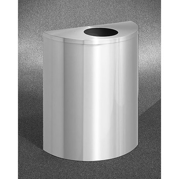 Glaro Profile Half Round Trash Can, 2492-SA, finished in Satin Aluminum