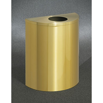 Glaro Profile Half Round Trash Can, 2492-BE, finished in Satin Brass
