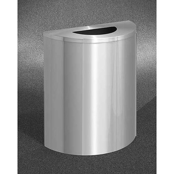 Glaro Profile Half Round Trash Receptacle - 2491-SA, finished in Satin Aluminum