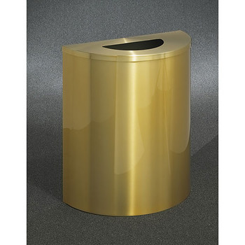 Glaro Profile Half Round Trash Receptacle, 2491-BE, finished in Satin Brass