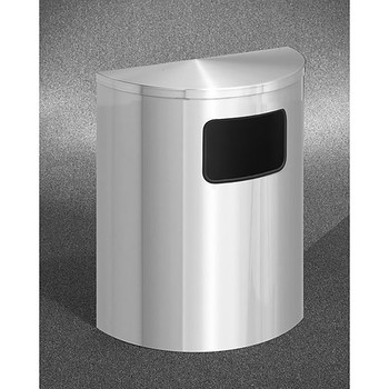 Glaro Profile Half Round Side Opening Trash Can, 2493-SA, finished in Satin Aluminum