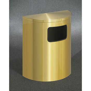 Glaro Profile Half Round Side Opening Trash Can, 2493-BE, finished in Satin Brass