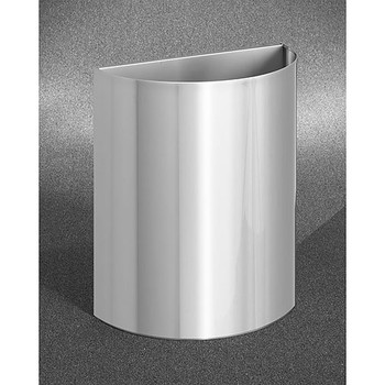 Glaro Profile Half Round Open Top Receptacle, 2496-SA, finished in Satin Aluminum