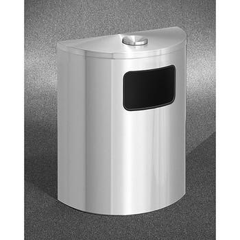 Glaro Profile Half Round Funnel Top Ash and Trash Receptacle, 2494-SA, finished in Satin Aluminum