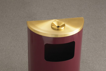 Close-Up of the Glaro Profile Half Round Funnel Top Ash and Trash Receptacle - 1894, finished in Burgundy with a Satin Brass top